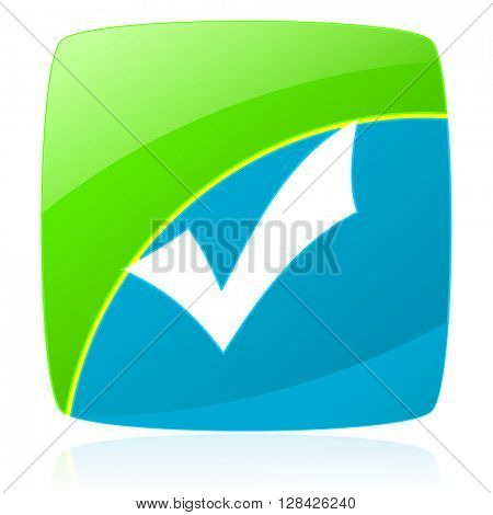 accept green and blue glossy web icon