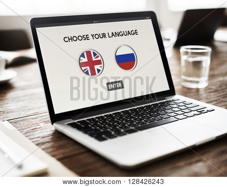 Russian English Communication Language Concept