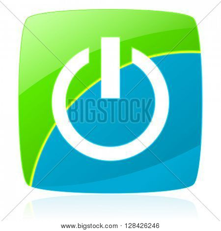 power green and blue glossy web icon