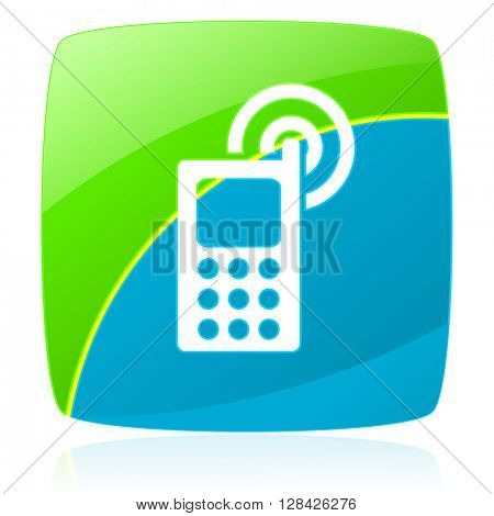 phone green and blue glossy web icon