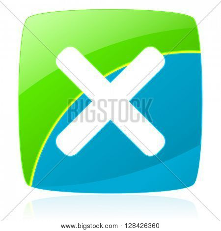cancel green and blue glossy web icon