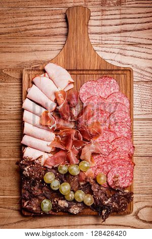 Cold Meat Plate, Slices Prosciutto, Ham,beef Jerky, Sausage, Salami