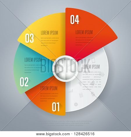 Infographics elements. Creative business concept of stage, parts, steps. Template for chart, presentation, graph and brochure design. Layout for web site or printed material. Vector illustration.