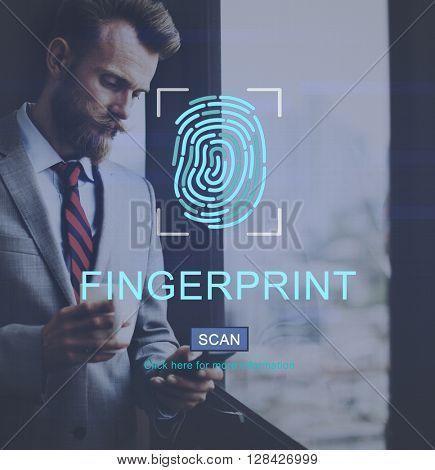 Fingerprint Technology Futuristic Coding Digital Concept