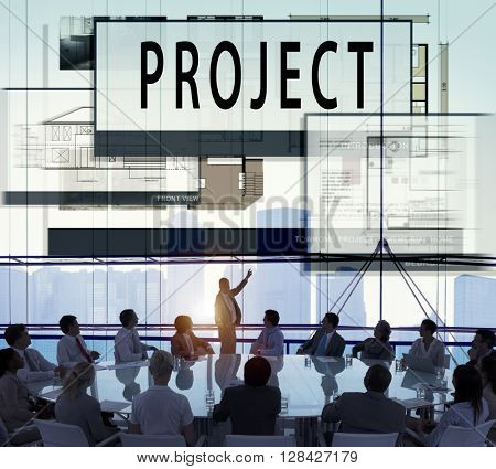 Plan Project Architecture Blueprint Drawing Concept