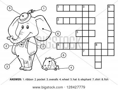 Vector Colorless Crossword. Cute Elephant With A Toy
