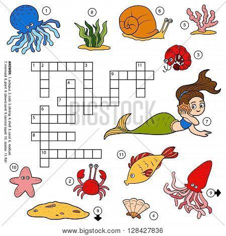 Vector Color Crossword About Sea Life