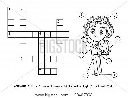Vector Colorless Crossword. Schoolgirl Character With A Backpack