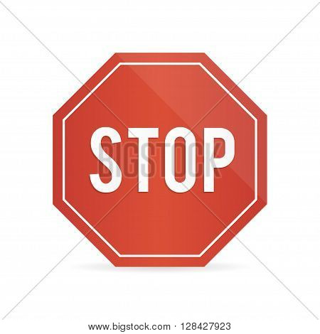 Traffic stop sign on a white background with shadow