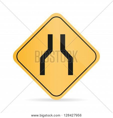 Orange road sign of narrowing of the road on a white background with shadow