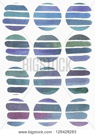 Blue and purple illustration cool and branding freehand texture based on watercolor gradient stripes in large circle shapes. Large grainy bright image with imperfections on whte watercolor paper for your design