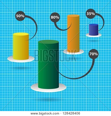 column chart with four color columns and text - blue graph paperbackground