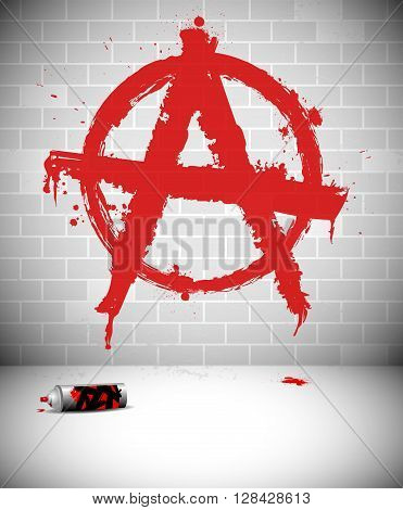 Graffiti on brick wall - red anarchy sign. Vector illustration.