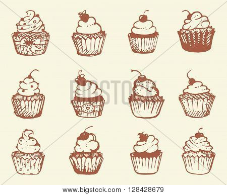 Sketches of different types of cupcakes. Vector illustration