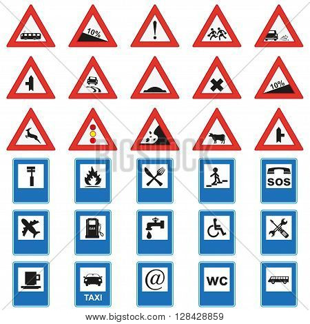 Big set of road signs. Red and blue