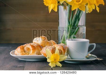 Spring Breakfast With Freshly Baked Crusty Sesame Bagels