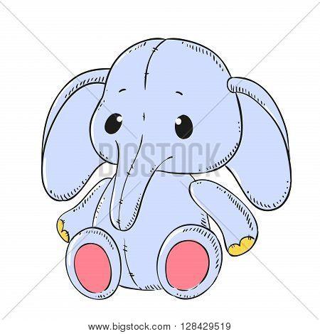 Cute soft toy Elephant vector. Cartoon character