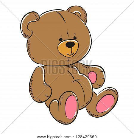 Teddy bear soft toy vector. Cartoon character