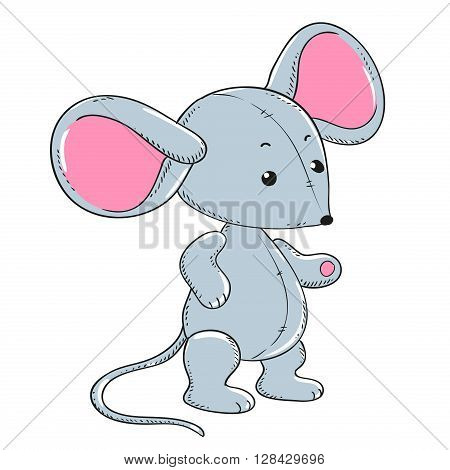 Little mouse soft toy plush vector. Cartoon character