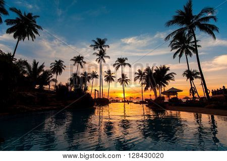 Beautiful sunset with palm trees reflected in pool.