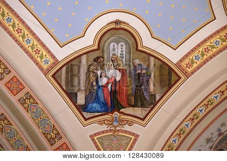 STITAR, CROATIA - AUGUST 27: Presentation at the Temple, fresco in the church of Saint Matthew in Stitar, Croatia on August 27, 2015