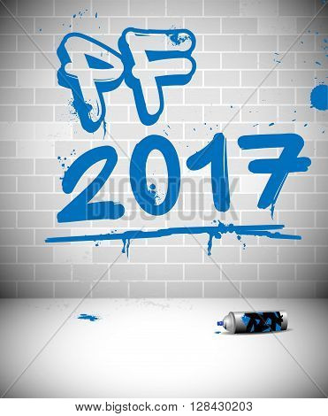 Blue graffiti on brick wall - PF 2017 - original new year greeting card with place for text. Vector illustration.