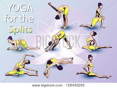 A set of yoga postures female figures: sequence of physical exercises in the form of creative visual poster Yoga For The Splits.