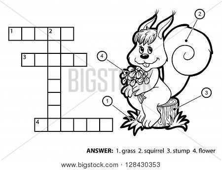 Vector Colorless Crossword. Squirrel Sitting On A Tree Stump