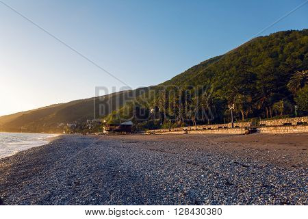 Black Sea in Abkhazia unusually clean and bright in sunset