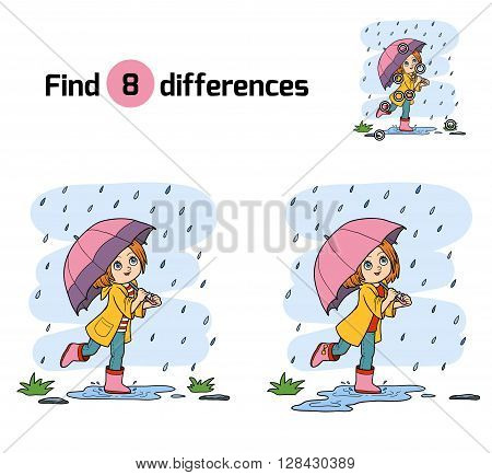 Find Differences. Girl Running With An Umbrella In The Rain