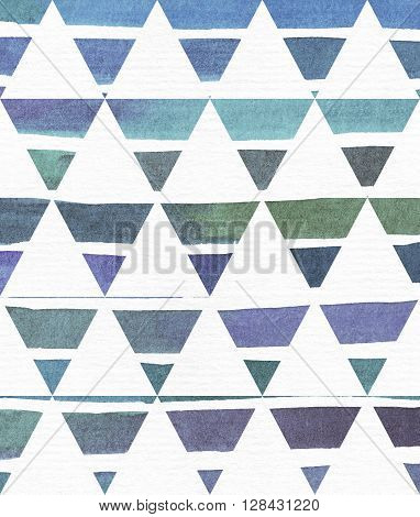 Blue and purple illustration cool and branding freehand texture based on watercolor gradient stripes in classic equilateral triangles. Large grainy bright image on white paper with imperfections and grain