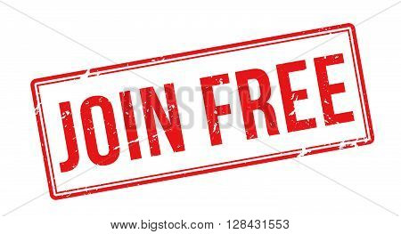 Join Free Red Rubber Stamp On White