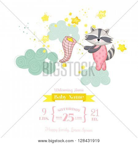 Baby Shower or Arrival Card - Baby Ra?coon Girl - in vector