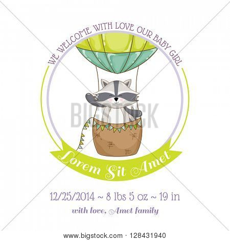 Baby Shower or Arrival Card - Baby Rac?oon and Air balloon- in vector