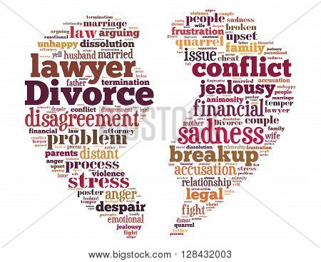 Divorce Broken Heart, Word Cloud Concept 6