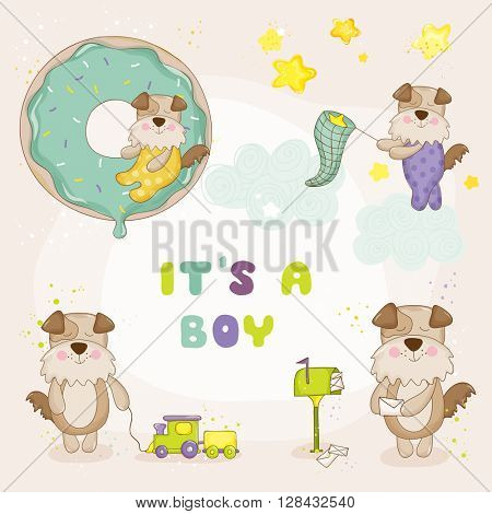 Baby Dog Set - Baby Shower or Arrival Cards - in vector