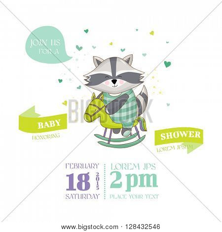 Baby Shower or Arrival Card - Baby Ra??oon - in vector