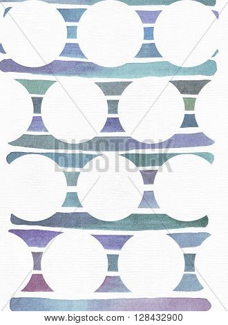 Blue and purple illustration cool and branding freehand texture based on watercolor gradient stripes on background of white circles. Large grainy bright with imperfections on white textured watercolor paper