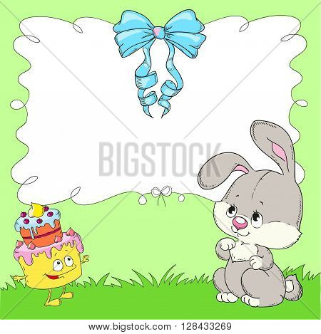 Children bow frame with space for text. Rabbit and cake with green background