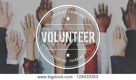 Volunteer Willingness Support Action Concept