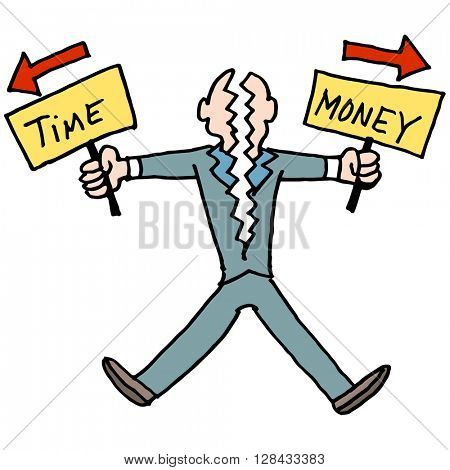An image of a man struggling to balance time and money.