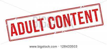 Adult Content Red Rubber Stamp On White