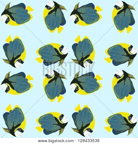 Seamless pattern from exotic swimming fishes on blue background