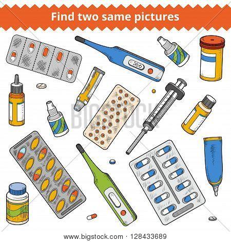 Find Two Same Pictures. Medical Color Set