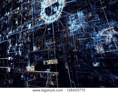 Fractal background - abstract computer-generated. Bright blue chaos lines on a dark background - modern technology style image.