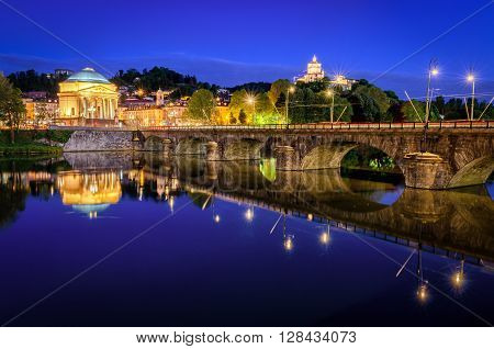 Turin (Torino) river Po Grand Madre and Monte dei Cappuccini at blue hour