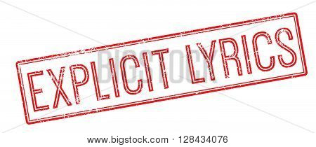 Explicit Lyrics Red Rubber Stamp On White