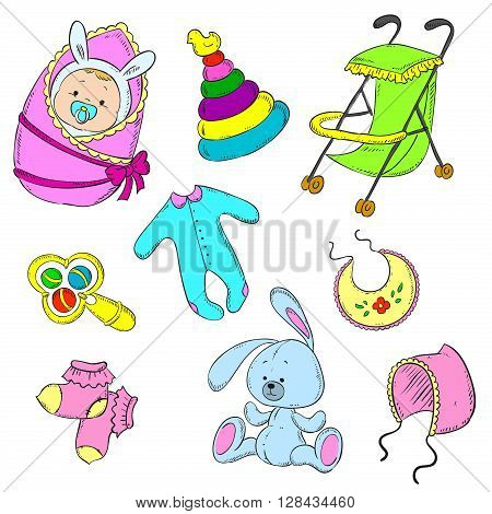 Set for newborn girl. Baby, stroller, rattle, cap, socks, toddlers, toy, pyramid