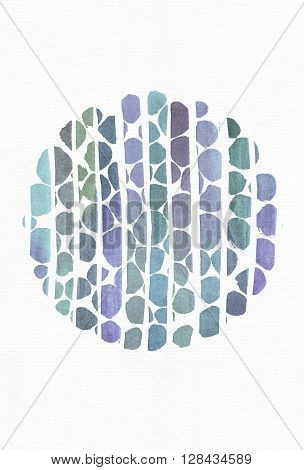 Blue and purple illustration cool branding freehand texture based on watercolor gradient stripes and round template made with brush smears on white watercolor paper. Large grainy bright with imperfections