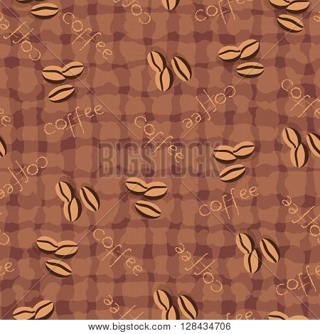 Beige seamless background with scattering of coffee beans and lettering. Seamless coffee pattern in pale beige colors. Design for cards, wallpaper, posters, clothes. Vector illustration